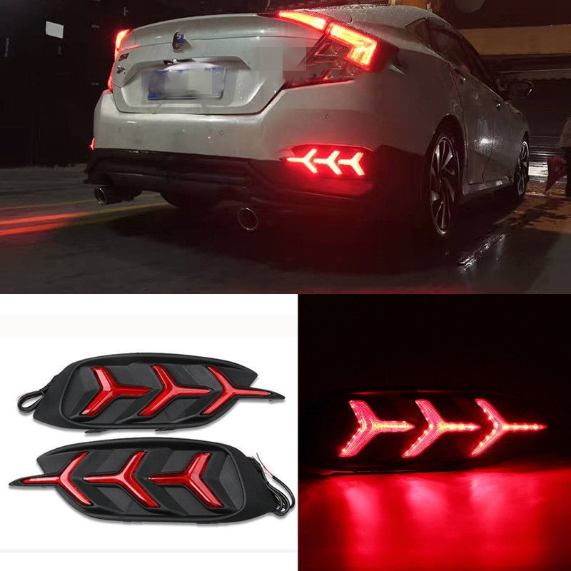 Y Style Red Lens LED Bumper Reflector Tail Brake Light Fit For Honda Civic 2016-2017 Car Styling Accessories Decoration Covers