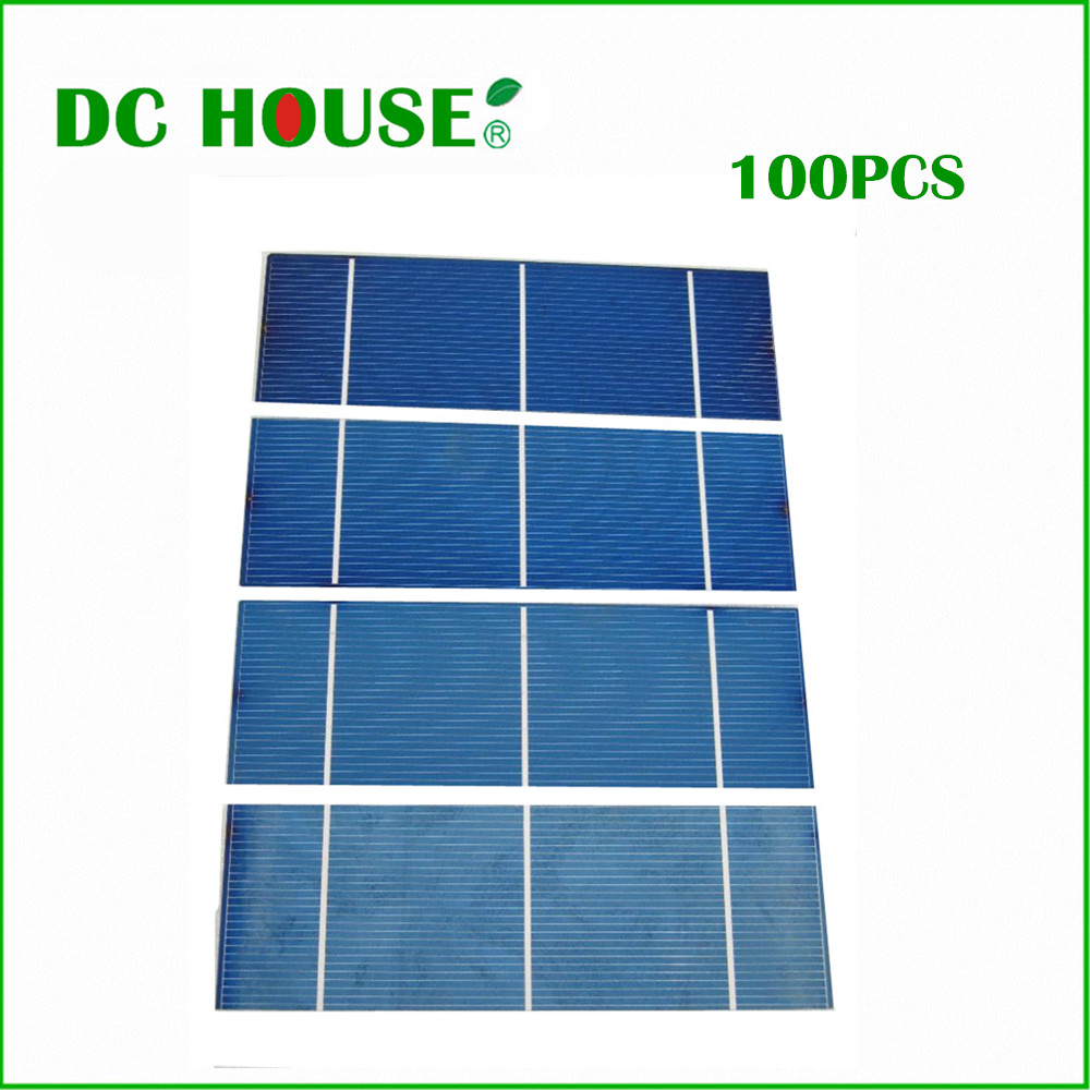 100 pcs 15% efficiency 2x6 Polycystalline Solar Cell 1.1w/pc DIY 100W Solar Cells Low Price Free Shipping  with CE Certificate high efficiency solar cell 100pcs grade a solar cell diy 100w solar panel solar generators