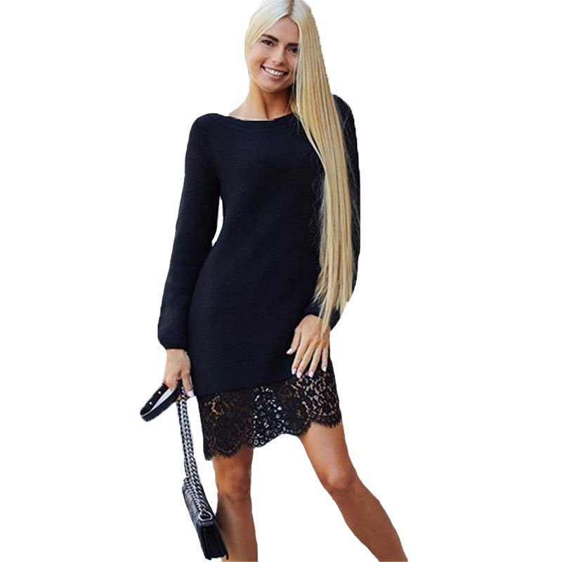 2017 New Fashion Spring Knitted Dress Women Long Sleeve Evening Party Dresses Slim Bodycon White