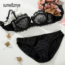 New 2016 Intimates Female White sexy lace embroidery comfort ultra-thin transparent bra and pants set lady sexy lingerie bra set