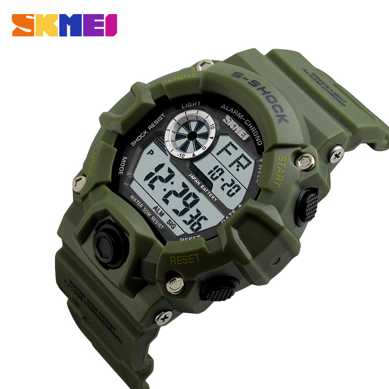 <font><b>SKMEI</b></font> Casual Digital Watches Men Sports Electronic Clock Outdoor Luxury Camouflage Military Wristwatches Waterproof Reloj Hombre image