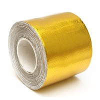 MTGATHER 9mx5cm Fiberglass Roll Adhesive Reflective Gold High Temperature Heat Shield Wrap Tape