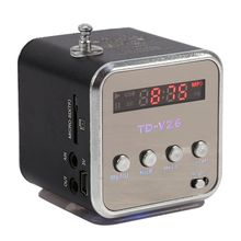 hot deal buy portable td-v26 mini speaker mp3 music players with lcd support fm radio micro tf sd stereo loudspeaker for laptop mobile phones