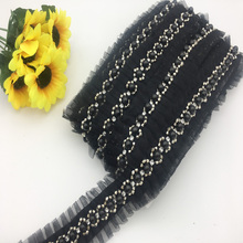 Free Shipping Fake Pearl Beaded Embroidered Mesh Lace Trim Vintage Black Mesh Fabric Lace Beaded Pearl Trim Beaded Trim цена 2017