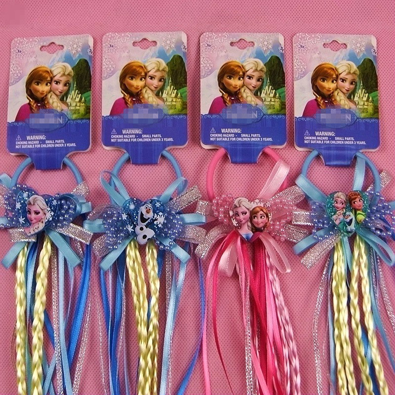 Anna Elsa Princess Braid Wig Elastic Hair Band Headdress Rubber Band Birthday Party Cosplay Hair Accessories ohcos new 70cm long adult princess anna popular movie figure cosplay wig costume synthetic hair
