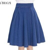 2018 الصيف المرأة الدنيم التنانير خط أزرق plue حجم 4xl saia ميدي تنورة الإناث عالية الخصر جيوب الجينز الأزياء jupe faldas