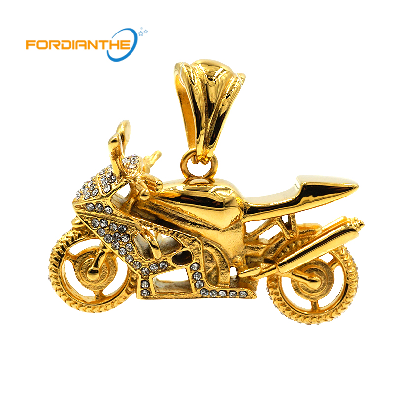 Fashion Gold Men's Motorcycles Jewelry Making Charms Pendant Silver Men Women Stainless Steel 36 L Crystal Metal Pendants men s stainless steel tag pendant with crystal silver