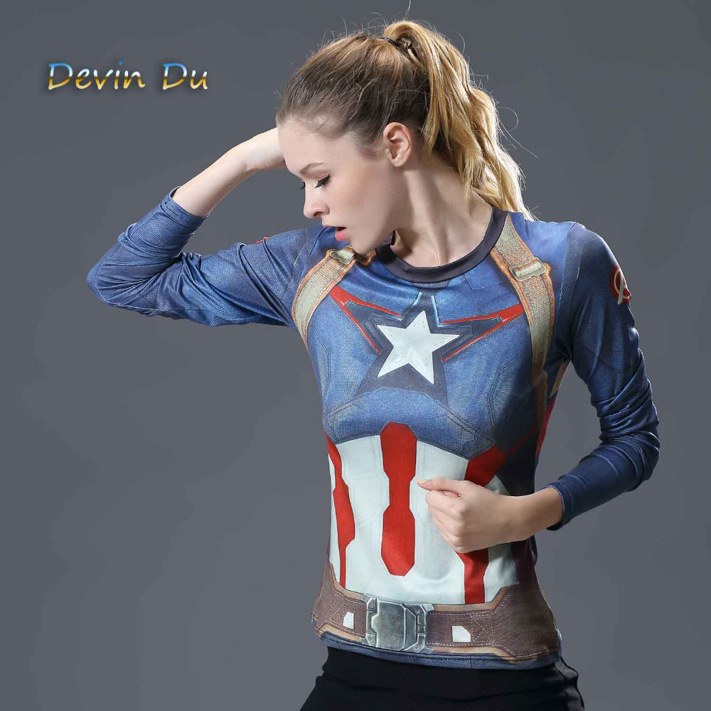 Superman T-shirts Women Long Sleeve Fitness Absorb Sweat Woman T Shirt Compression Tops Camisetas Mujer Quick Dry