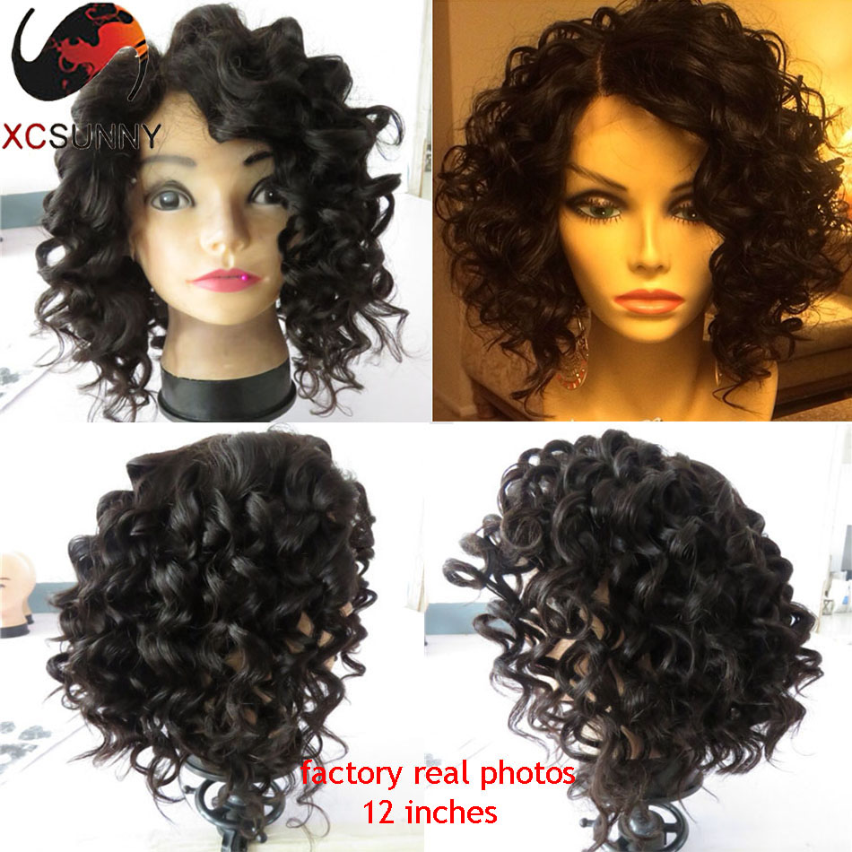 Rihanna Curly Bob Wigs Lace Front Human Hair Wigs For Black Women 12 Inches  Factory Real Figure Short Human Hair Bob Wig 1b3dce8b4