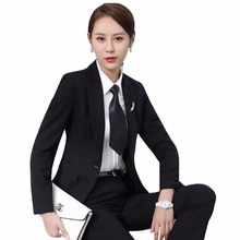 Womens office uniform designs professional formal work business wear fashion blazer pants trouser suits Grey Black Blue S-3XL