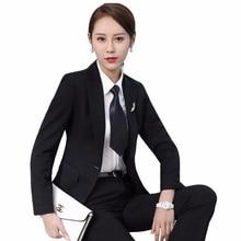 Womens office uniform designs professional formal work business wear fashion blazer pants trouser suits Grey Black