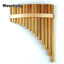 15 Pipes Pan Flute G Key Chinese Musical Instruments Original Color Brown Traditional Woodwind Instrument Handmade Pan Pipes