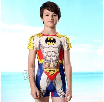 2015 new children swimwear sports one piece swimsuit child sleeves sunscreen super man swimming trunks,boy/kids' beachwear - The love in the East store