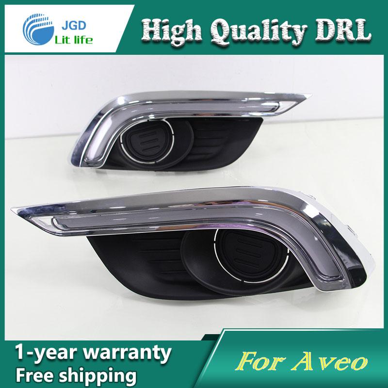 Free shipping !12V 6000k LED DRL Daytime running light case for Chevrolet AVEO 2015 2016 fog lamp frame Fog light Car styling