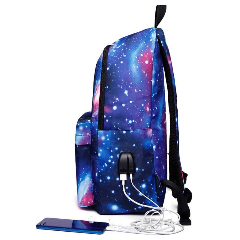 נשים בית ספר תרמילי USB טעינה תיקי בית ספר בני נוער ילד בנות גדול קיבולת נסיעות תרמיל גברים שקיות
