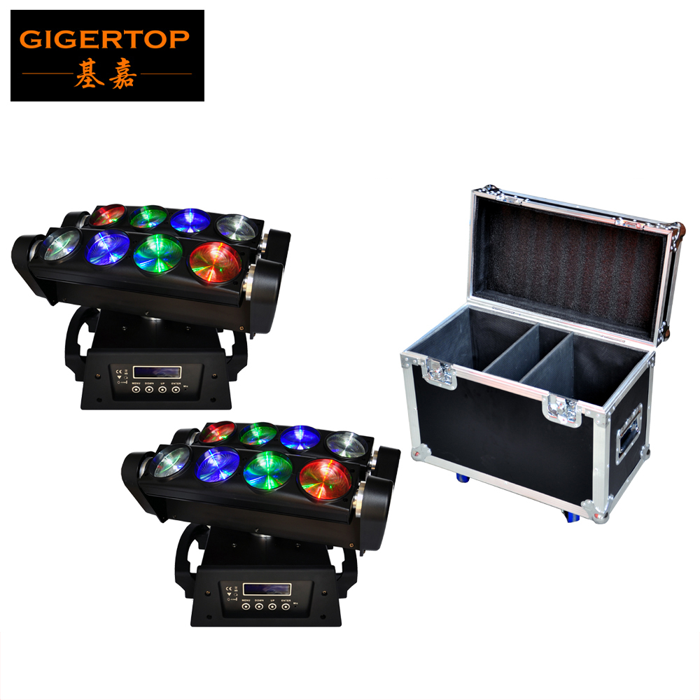 2IN1 Flight case Pack 8*10W 4IN1 RGBW Led Spider Moving Head Beam Hi-Quality DMX512 Led Spider Moving Light Stage Lights13/46Chs