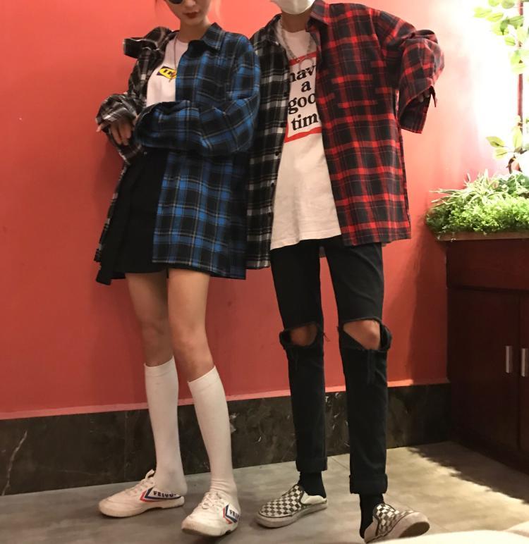 9a5cddc147 Modstreets las mujeres camisas a cuadros 2019 otoño primavera manga larga  blusas camiseta para niñas coreano superior Streetwear novio estilo camiseta