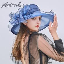 [AETRENDS] 2018 Novi vintage cvetlični klobuki za ženske za poletje s širokim robom Organza Net preje za plažo Z-6473