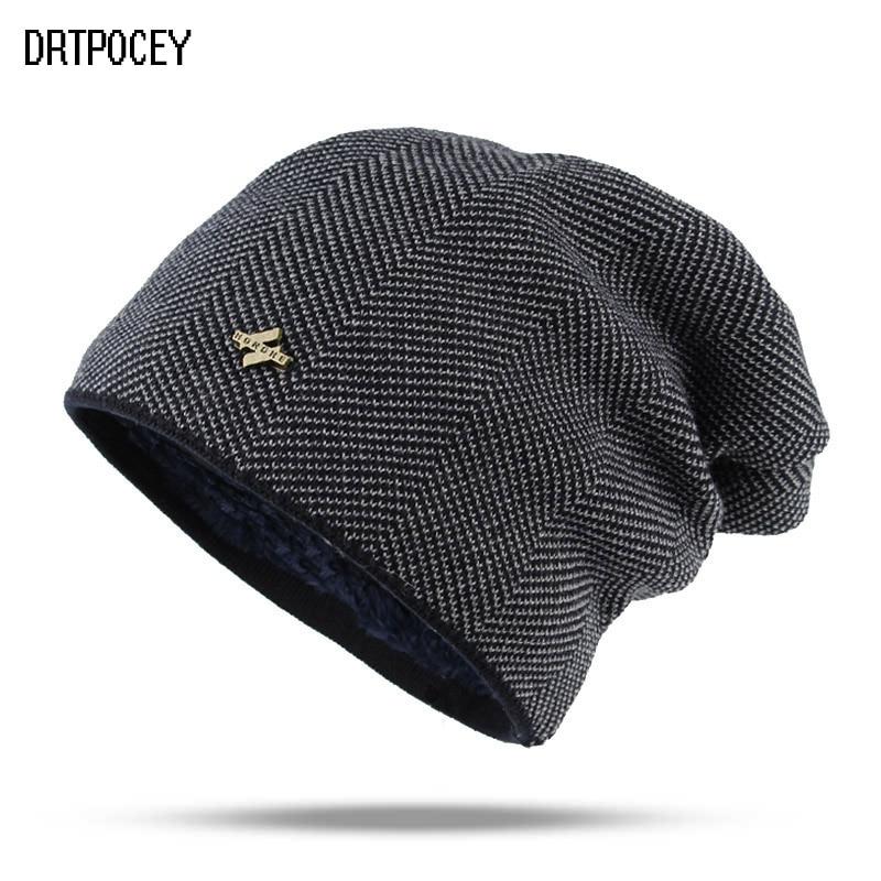 Fashion Men   Skullies     Beanies   Knitted Hat Winter Hats For Women Plain Warm Male Gorros Bonnet Caps Thicken Solid Knitting   Beanies