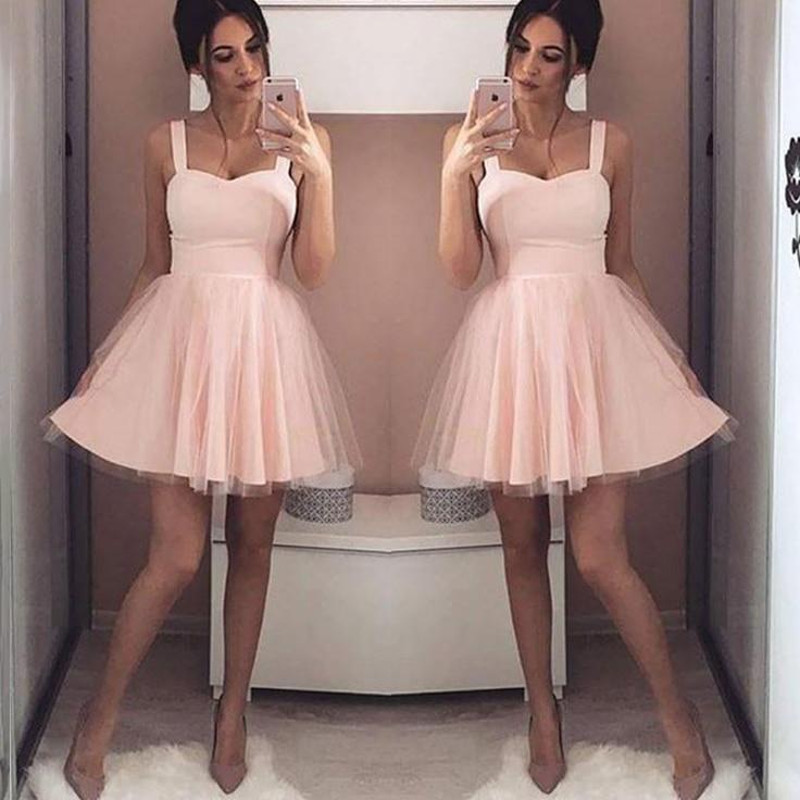 Sexy Spaghetti Straps Short Bridesmaid Dresses 2018 Simple