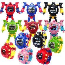Dropshipping Robot Transformation Wristwatch Toy Mecha Electronic Watch Children Sports Cartoon Watches Kids Xmas Gifts