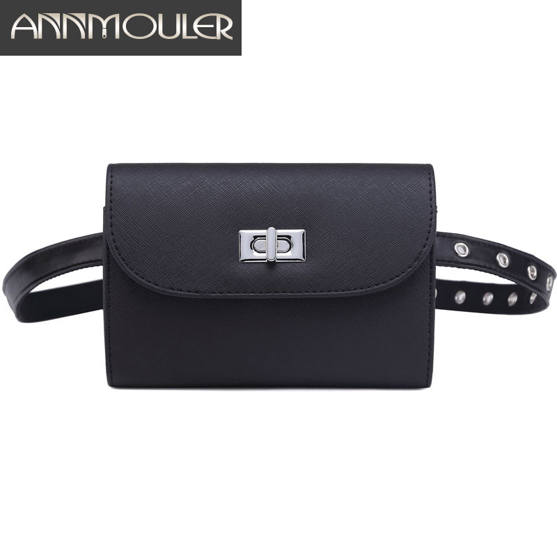Annmouler Brand Waist Bags Pu Leather Fanny Pack Black Adjustable Women Waist Packs Fashion Hip Bag For Girls Small Bum Bag