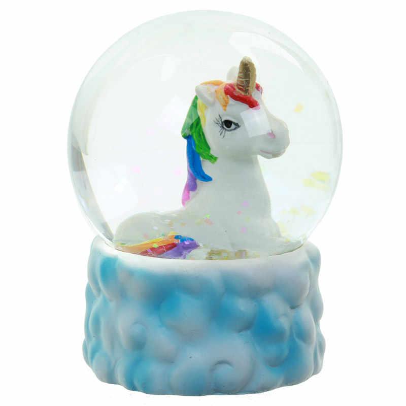 1Piece 3D Unicorn Snow Globe Glitter Enchanted Unicorn Snow Globe On Cloud  Base Water Ball Fairy Glitterdome Rainbow Unicorn