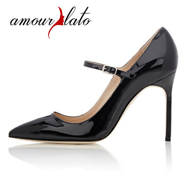 Amourplato Women s Mary Janes Pumps 10CM Stiletto High Heels Pointed Toe  Patent Pumps Closed Toe Office Business Dress Shoes