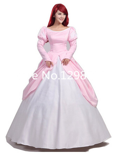 Pink Ball Gown Adult Princess Ariel Dress Cosplay Costume The Little Mermaid Dress A-Line ariel pink