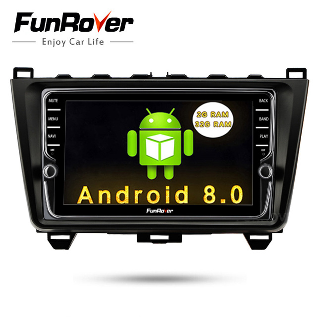 """Funrover  Android 8.0 8"""" Car DVD Multimedia Player Stereo for MAZDA 6 2008 -2015 GPS Navigation Steering-Wheel IPS Touch Screen"""