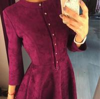2017 Winter Dress Wine Red Long Sleeve Stand Collar Casual Office Swing Party Vintage Women Dresses Female Clothing Suede Dress