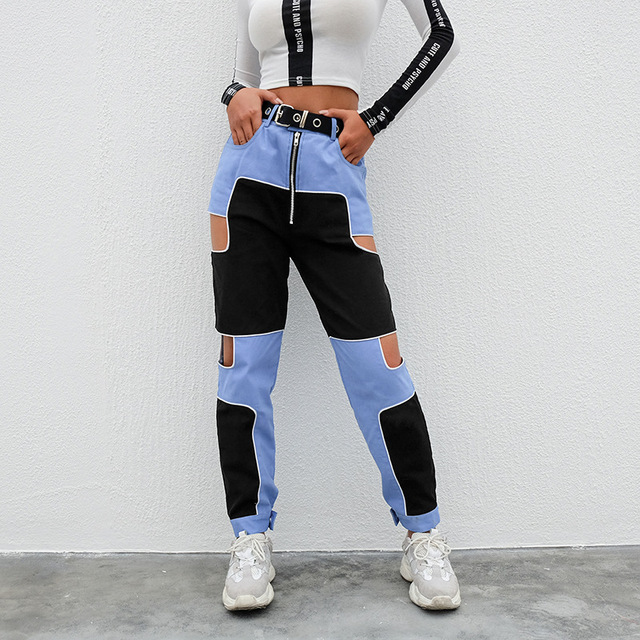 Harajuku Hip Hop Cargo Pants Women Hollow Out High Waist Trousers Streetwear Patchwork Sweatpants and Joggers Ladies