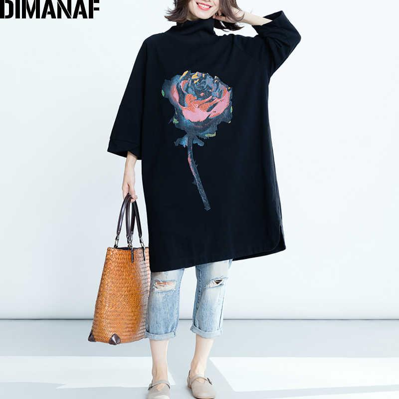DIMANAF Women Dresses Female Clothes Lady Elegant Vestidos Turtleneck  Cotton Plus Size Fashion Print Floral Dress c5d4e895a246