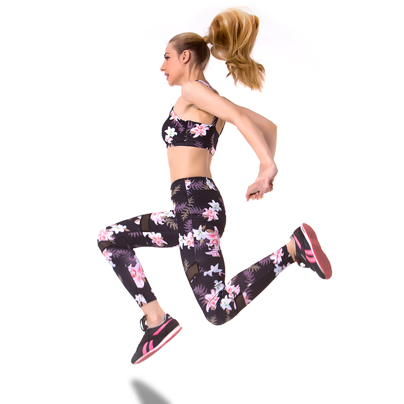 Sport Clothing Floral Printing Tracksuit Yoga Sport Suit Women Sportswear Women Gym Yoga Set Suit For Fitness Bra+Leggings yoga floral print ombre leggings
