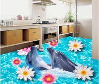 Home Decoration 3d customized wallpaper Flowers dolphin sea floor 3D floor painting bathroom pvc wallpaper