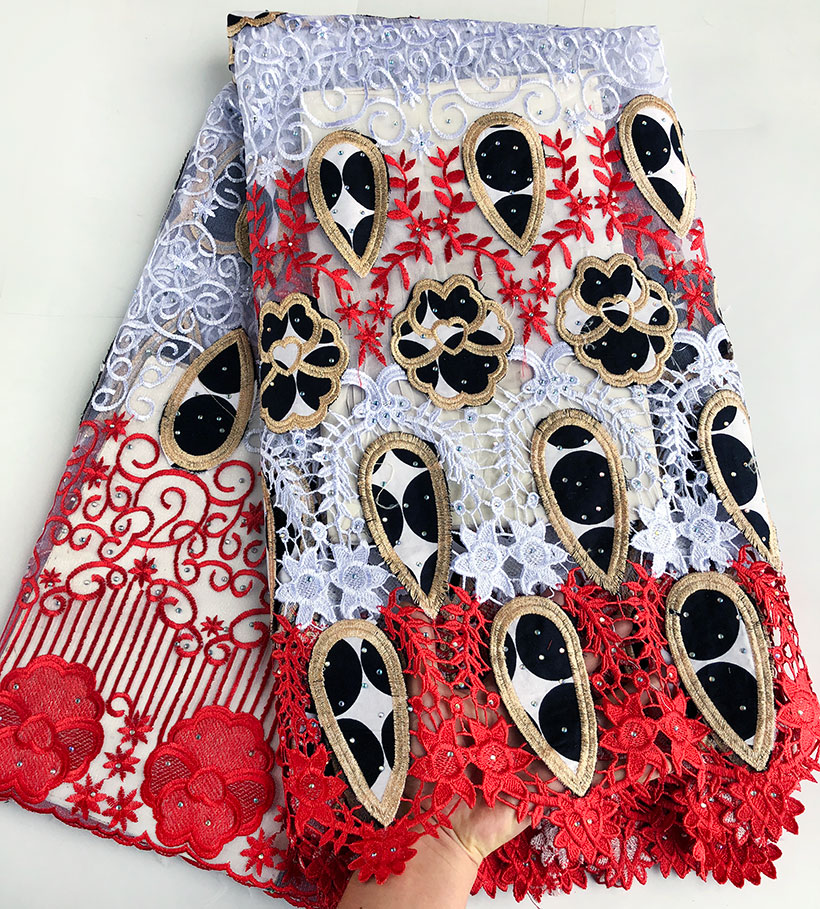 5 yards Genuine Wax 100 embroidery African french lace mix Guipure lace fabric excellent big high