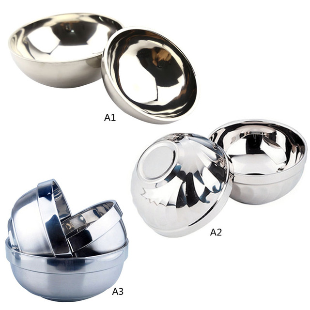 Food Noodles Rice Bowl 304 Stainless Steel Metal Soup Bowl Double Layer Hot Insulation For Anti Slippery Bowls 1Pcs m