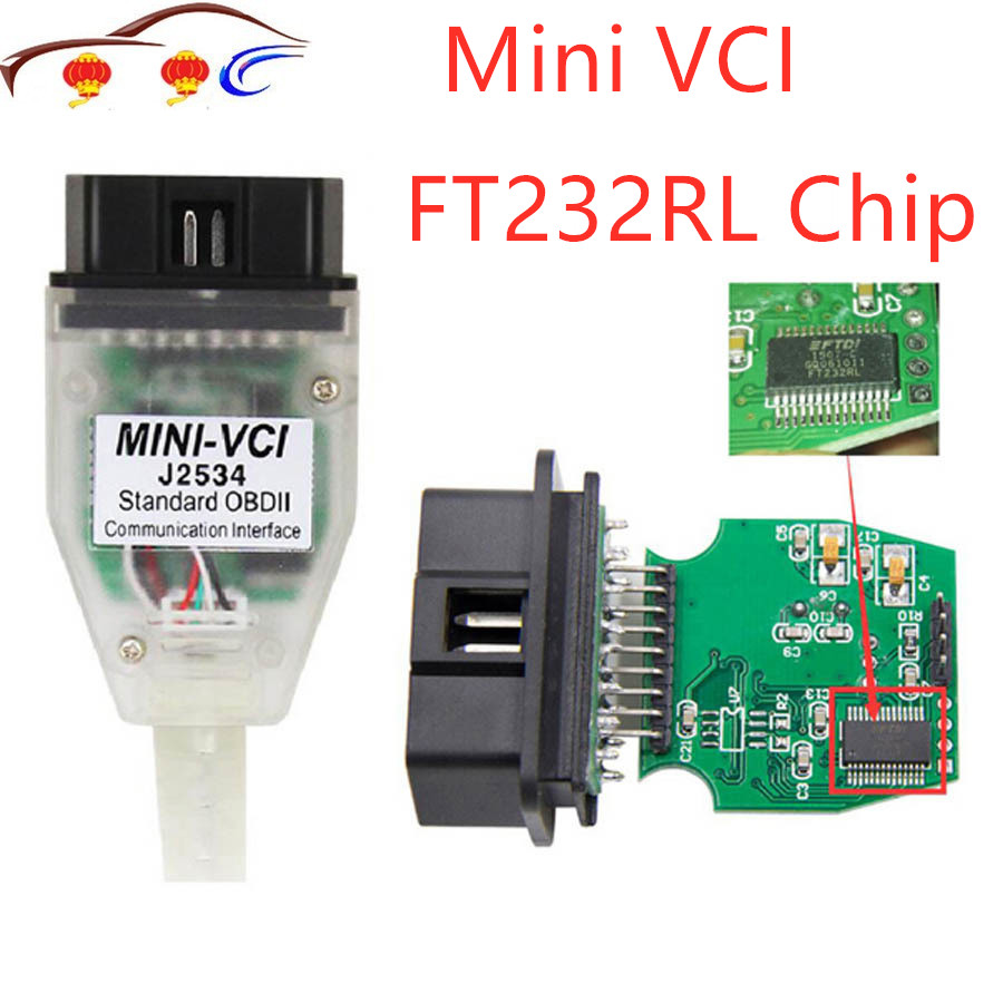 Hot MINI VCI V13.00.022 Interface FOR TOYOTA TIS Techstream Minivci FT232RL Chip J2534 OBDII OBD2 Diagnostic Tool