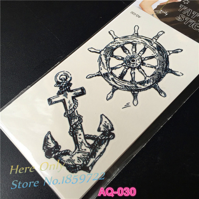 Fashion Temporary Waterproof Tattoo Stickers Body Art Viking Sailor Cultural Anchor Rudder Design Turkey Style Pirate Sailor