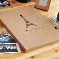 High Quality Romantic Eiffel Tower Photo Album A4 Handmade Vintage DIY Scrapbooking Photo Album Photo Corners