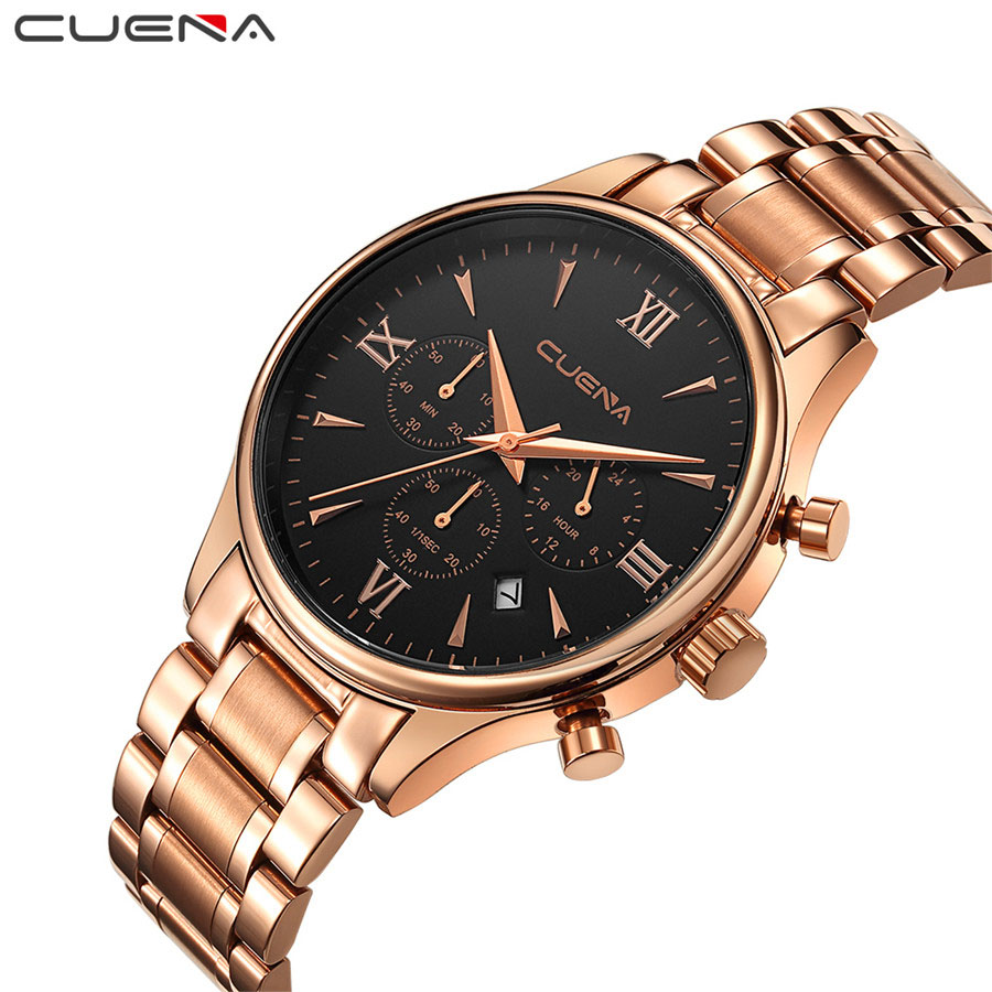 NEW CUENA Top Brand Luxury Wrist Watch Men Military Army Sport Male Clock Steel Strap Mens Watches Date Business Quartz Clocks weide new men quartz casual watch army military sports watch waterproof back light men watches alarm clock multiple time zone