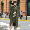 Personalizar Para Mujer Otoño Invierno Casual Con Capucha de Doble Botonadura Abrigo Maxi Largo de Lana Más Tamaño Hembra Casaco Feminino