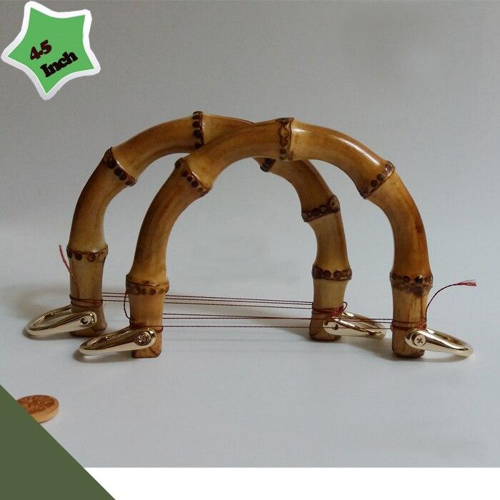 2 Pieces,12X9cm Two Colors Bamboo Bag Handles With Metal Fastern Obag Handles Sangle Sac DIY Wholesale Bamboo Purse Bag Handles