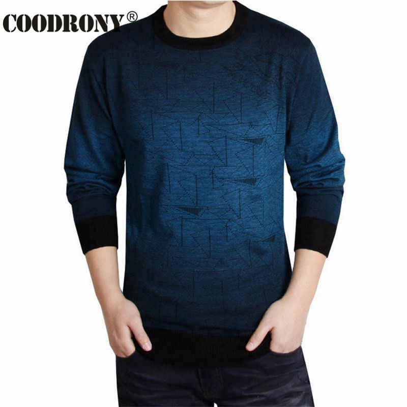 COODRONY Cashmere sweter mężczyźni marka odzież męskie swetry drukuj koszula na co dzień jesień wełniany sweter mężczyźni O-Neck Pull top męski 613