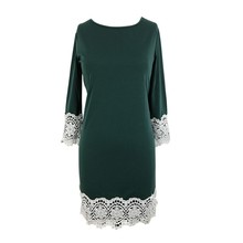Fashion Lace Patchwork Long Sleeve Dress Plus Size Hollow Knee-Length Dresses 2018 Women Spring Autumn Casual Loose Clothes