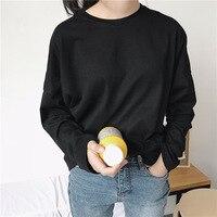 Basic Cotton Tops Women Basic Plain Long Sleeve Tee Shirt Oversize
