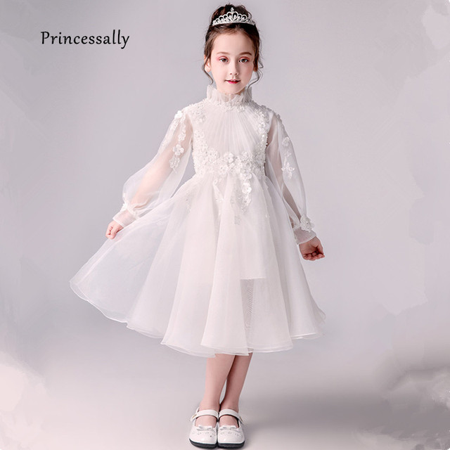 df0b50f225b Pageant Dresses For Girls Ivory Flower Girl Dresses Long Sleeve Chiffon  Flowers Beading Communion Kids Evening
