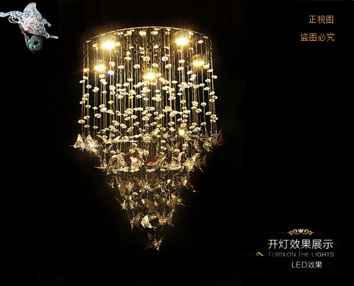 New Modern K9 Crystal Pendant Lights Chrome Butterfly Home Decoration  Bedroom Caboche Living Room Light Fixture 110 240V D500mm In Pendant Lights  From ...