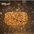 Современная Подвесная лампа willlustr из бамбука  Подвесная лампа ручной работы  светильник-кокон  подвесной светильник для отеля  ресторана  го...