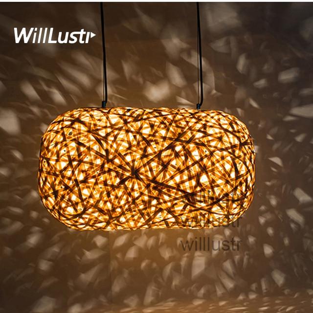 Willlustr Modern Bamboo Pendant Lamp Wood Suspension Light Handmade Lighting  Cocoon Hanging Light Hotel Restaurant Lounge